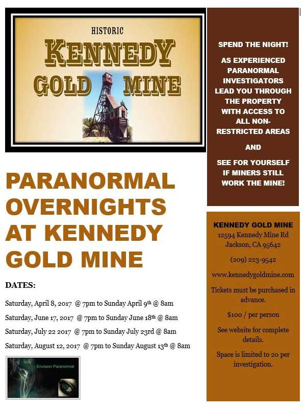 Paranormal Nights at the Kennedy Gold Mine